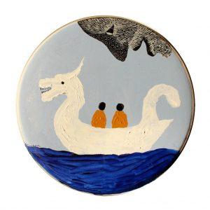 The drakkar on the blue sea