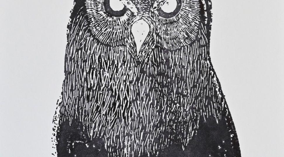 Owl -handmade print